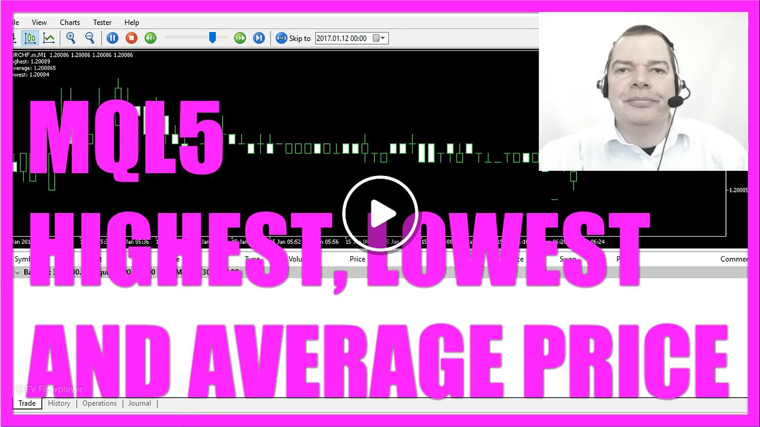 MQL5 TUTORIAL - HIGHEST LOWEST AND AVERAGE PRICE - MQL5 Tutorial